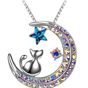 Cat on Moon Necklace Pendant with Swarovski